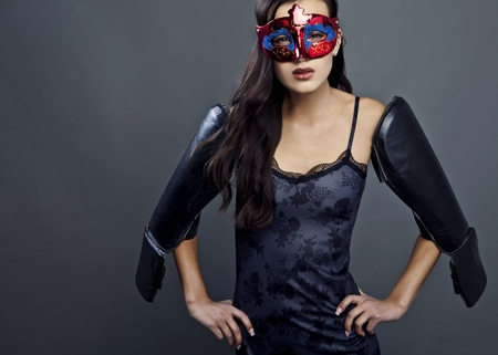 Close-up portrait of sexy woman in party mask   Stock Photo - 12962278