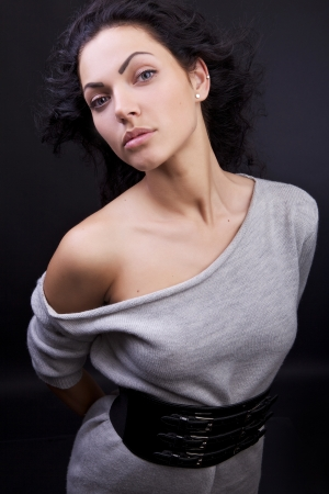 Amazing portrait of beautiful young caucasian woman   photo