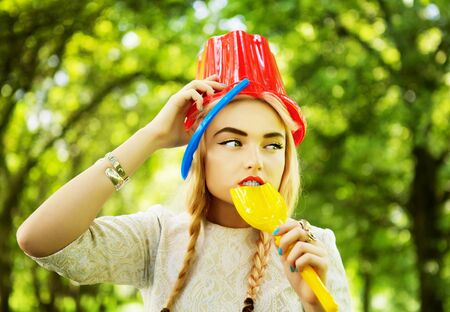 The blonde in park  Outdoor photo Stock Photo - 12960185