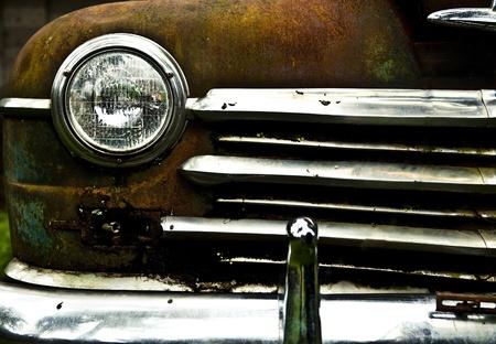 petrolium: Grunge and hight rusty elements of old luxury car  Photo