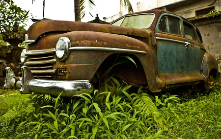 jazz time: Grunge and hight rusty elements of old luxury car  Photo