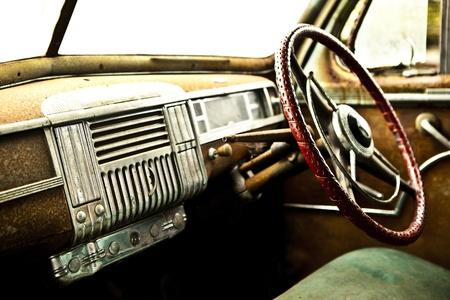 abandoned car: Grunge and hight rusty elements of old luxury car  Photo