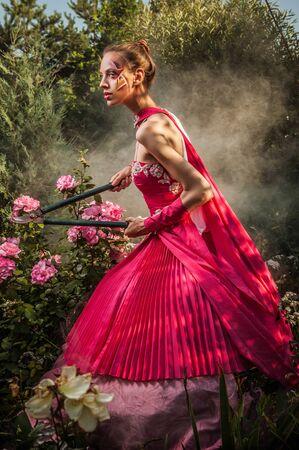 Attractive romantic woman on beautiful dress pose outdoor  Autumn Stock Photo - 15596490