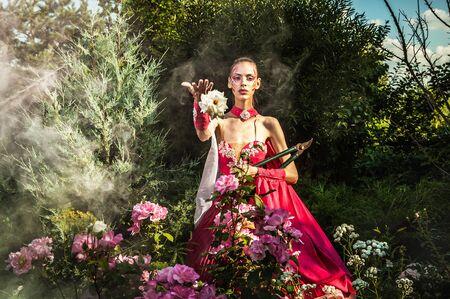Attractive romantic woman on beautiful dress pose outdoor  Autumn Stock Photo - 15598704