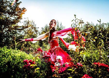 Attractive romantic woman on beautiful dress pose outdoor  Autumn   photo