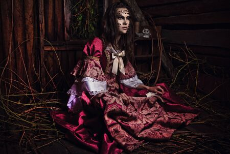 psychologically:   of a young fashion lady in a dark mystic location