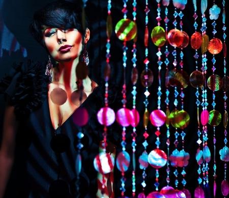 beautiful girl pose on colorful light Stock Photo - 15599015