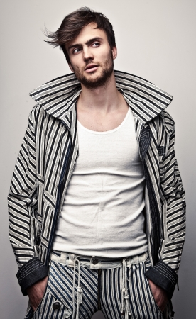 male hair: Elegant young handsome man  Studio fashion portrait