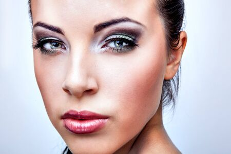 close up eyes: Natural health beauty of a woman face