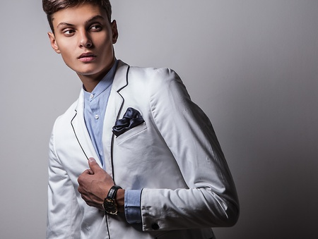 Elegant young handsome man  Studio fashion portrait   Stock Photo - 15575773