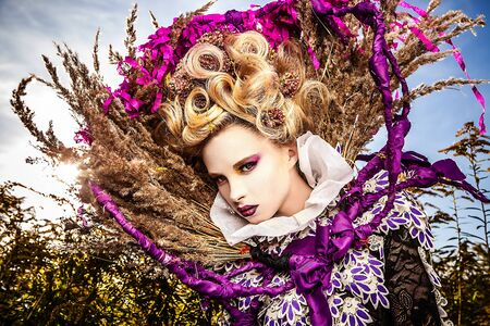 Dramatized image of sensual fashion girl - Art Fashion outdoor photo   photo