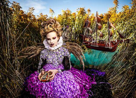 Dramatized image of sensual fashion girl - Art Fashion outdoor photo Stock Photo - 17021627