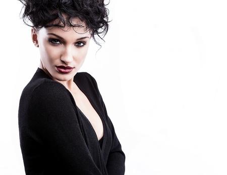 Beautiful face of young stylish woman on white background Stock Photo - 16956095