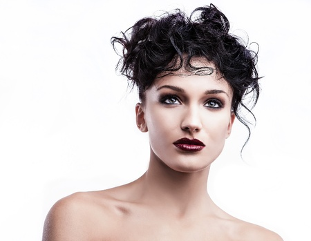 Beautiful face of young stylish woman on white background Stock Photo - 16956143