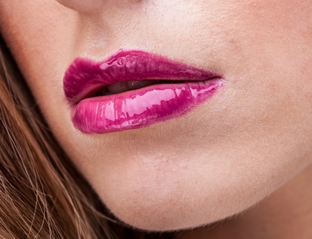 Close-up face of beauty young woman lips   photo