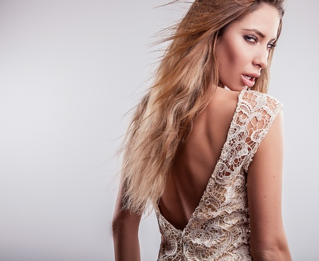 Young sensual model girl pose in studio   Stock Photo - 17130095