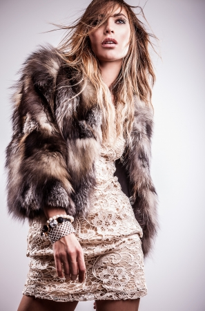 Portrait of attractive stylish woman in fur against grey background Stock Photo - 17130109
