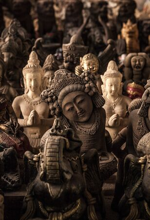 bust up: Ancient traditional figurines from stone  Stock Photo