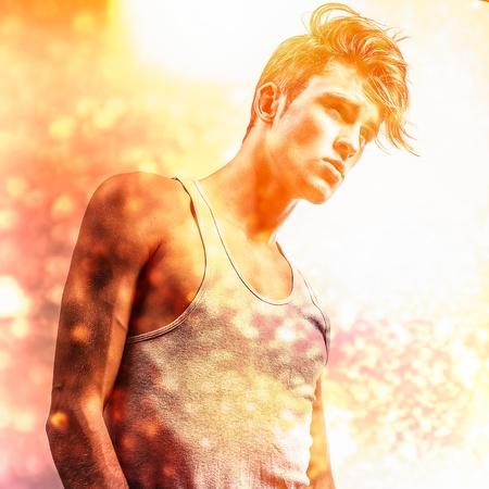 beau jeune homme: L'image multicolore portrait de jeune homme �l�gant beau