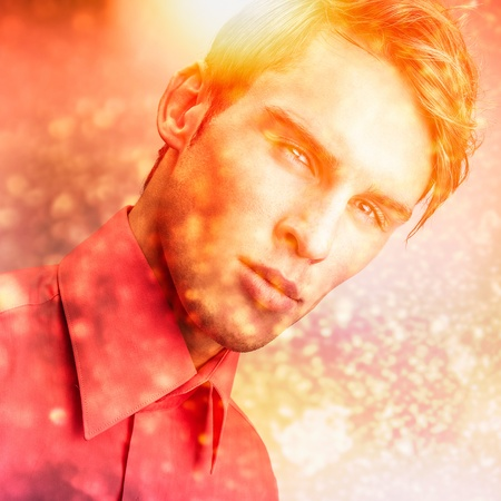 Multicolored image portrait of elegant young handsome man  photo