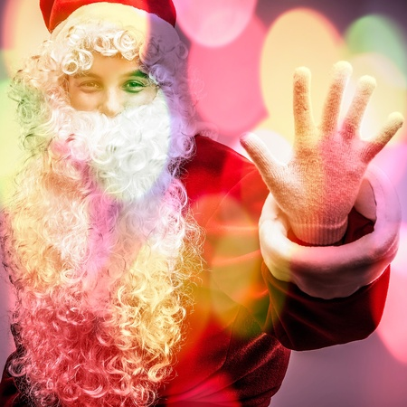 Multicolored digital painted image portrait of Santa Claus  photo