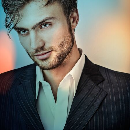 vogue style: Multicolored portrait of elegant young handsome man