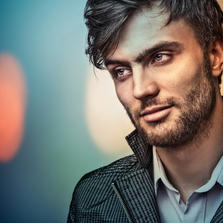hair clip: Multicolored portrait of elegant young handsome man