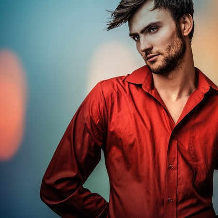 male hair model: Multicolored portrait of elegant young handsome man