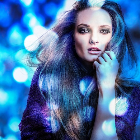 Beautiful fashion woman  Color face pop art photo toned blue  photo
