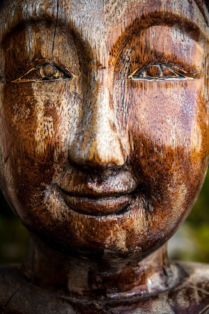 bust up: Traditional wooden asian statue  Stock Photo