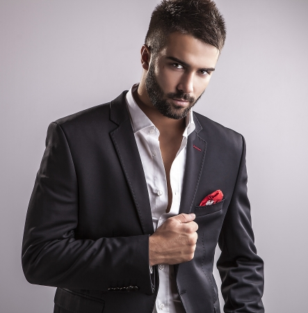 attractive man: Elegant young handsome man  Studio fashion portrait