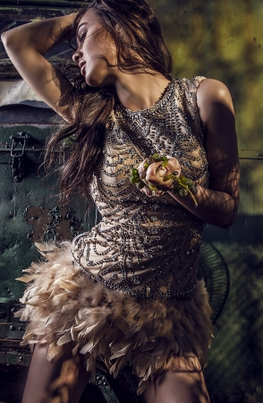 Dramatized image of sensual   attractive young woman in luxury dress    photo