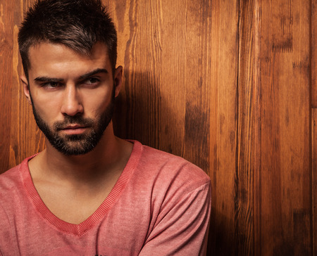 Attractive men indoor  Close-up photo