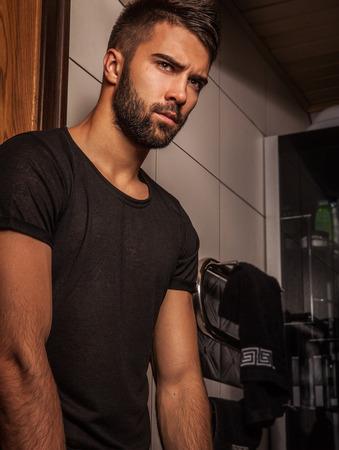 Attractive men indoor  Close-up photo  photo