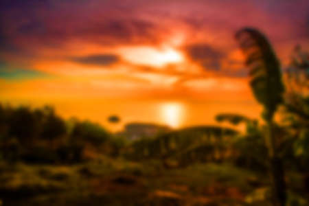 Beautiful blurred tropical view in defocus. Landscape photo with rocks and sea. photo