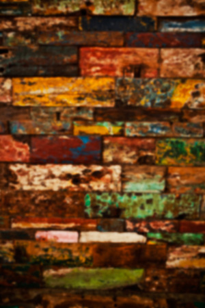 woodcutting: Blurred old colorful rustic grunge wooden backgroud. Stock Photo