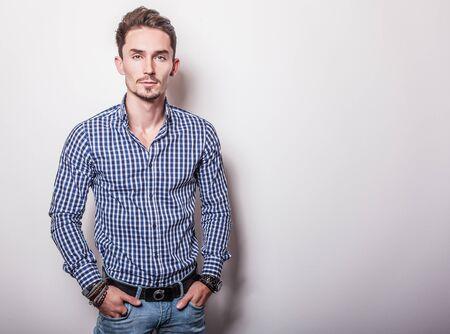 blue shirt: Elegant handsome man in stylish shirt Stock Photo