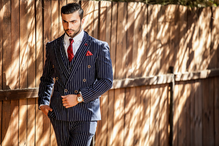 suit: Young european fashionable man Stock Photo