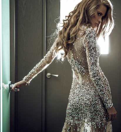 sensual: Elegant young woman in luxury dress