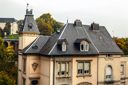 architectural tradition: LUXEMBOURG - OCTOBER 30, 2015: Traditional architecture of vintage European buildings in Luxembourg.
