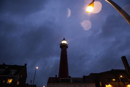 ijmuiden: HAGUE, NETHERLANDS - OCTOBER 18: Hoge vuurtoren van IJmuiden Lighthouse. IJmuiden, The Hague, Netherlands.