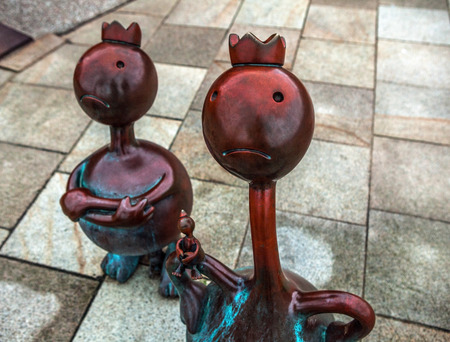 HAGUE, NETHERLANDS - AUGUST 22, 2015: Sculpture garden in Scheveningen called SprookjesBeel den aan Zee (Fairytale Sculptures by Sea). 23 cartoon like sculptures by American sculptor Tom Otterness.