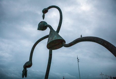 scheveningen: HAGUE, NETHERLANDS - AUGUST 22, 2015: Sculpture garden in Scheveningen called SprookjesBeel den aan Zee (Fairytale Sculptures by Sea). 23 cartoon like sculptures by American sculptor Tom Otterness.