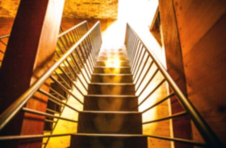 go inside: Metal old staircase.