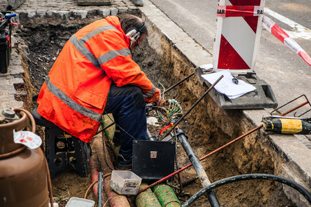 luxembourg: LUXEMBOURG - OCTOBER 30, 2015: Workers on city street. Luxembourg.