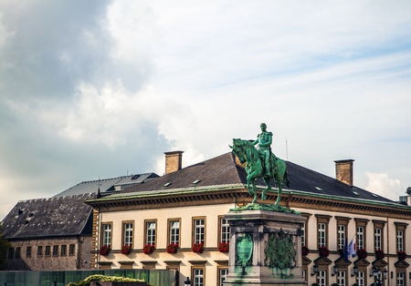 ii: Statue of Grand Duke William II on Place Guillaume II, Luxembourg City. Stock Photo