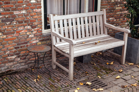 old furniture: Old classic wooden garden furniture outdoor.