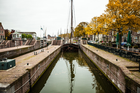 old ship: Big old ship floats on channel. Netherlands Editorial