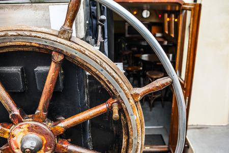 Ancient ship steering wheel.
