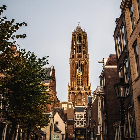 utrecht: Big ancient gothic church. Traditional European architecture. Utrecht - Holland.